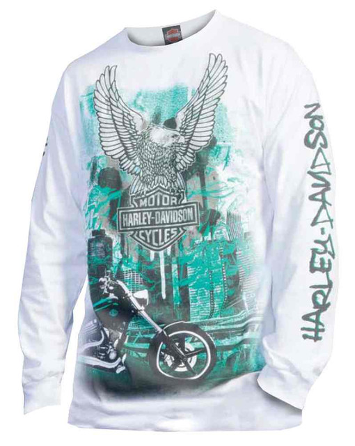 Harley-Davidson Men's Long Sleeve T-Shirt, Eagle B&S Graffiti Cityscape, White - Wisconsin Harley-Davidson