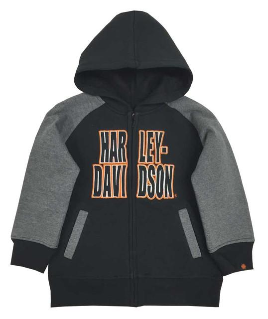 Harley-Davidson Little Boys' Embroidered Fleece Zip Hoodie, Black/Gray 6580563 - Wisconsin Harley-Davidson