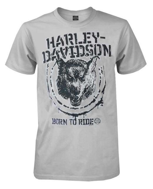 Harley-Davidson Men's Lightweight Fitted Tee, Distressed Stamped Wolf, Gray - Wisconsin Harley-Davidson
