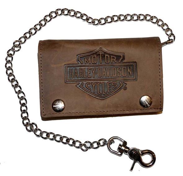 Harley-Davidson Men's Embossed XL Tri-Fold Chain Wallet Brown Leather TC337H - Wisconsin Harley-Davidson