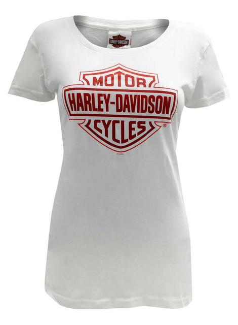 Harley-Davidson Women's Tee, Red Bar & Shield Short Sleeve, White 30291750 - Wisconsin Harley-Davidson