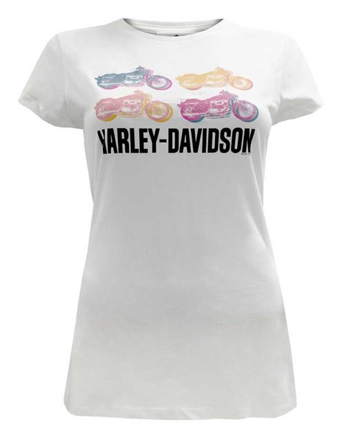 Harley-Davidson Women's Juniors Tee, Glitter Bike Graphics, White - Wisconsin Harley-Davidson
