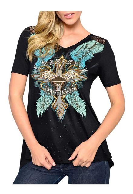 Harley-Davidson Women's Embellished Stud Wings Short Sleeve Tee, Speckle Black - Wisconsin Harley-Davidson