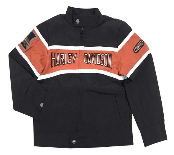Harley-Davidson Little Boys' Nylon Wind Breaker Jacket, Black/Orange 0286062 - Wisconsin Harley-Davidson