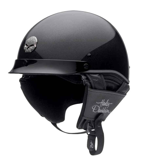 Harley-Davidson Women's Half Helmet, Metal Flake Ultra-Light, Black 98342-15VW - Wisconsin Harley-Davidson