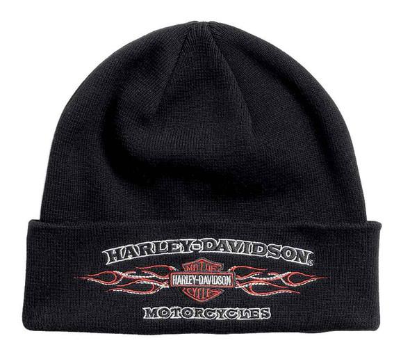 Harley-Davidson Mens Embroidered Flames Cuffed Knit Beanie Hat, Black 99433-16VM - Wisconsin Harley-Davidson