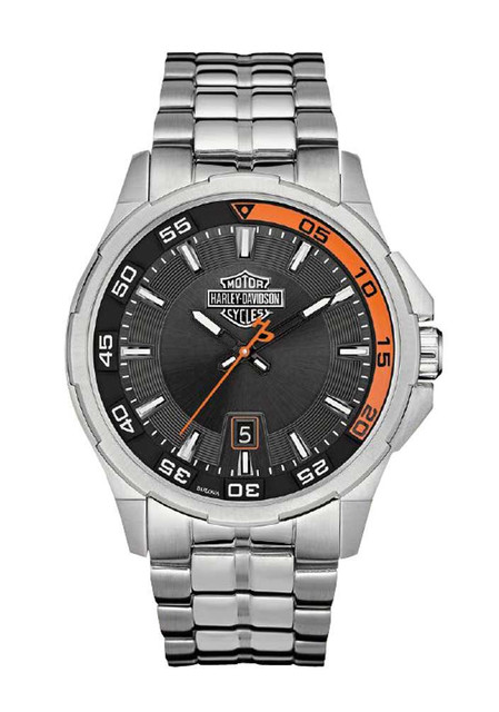 Harley-Davidson Men's Bulova Watch, Silver Bar & Shield, Stainless Steel 76B170 - Wisconsin Harley-Davidson