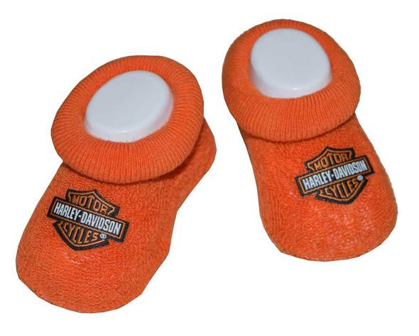 Harley-Davidson Baby Boys' Boxed Booties, Bar & Shield Logo, Orange S9LUL22HD - Wisconsin Harley-Davidson