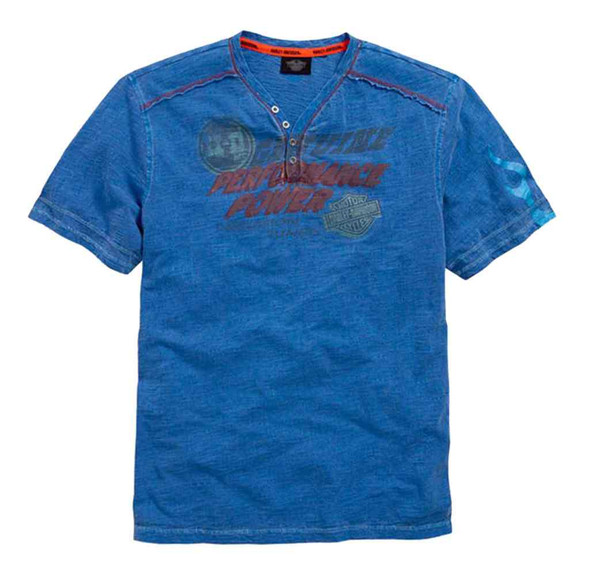 Harley-Davidson Men's T-Shirt, HDMC Power Short Sleeve Henley, Blue 96477-15VM - Wisconsin Harley-Davidson