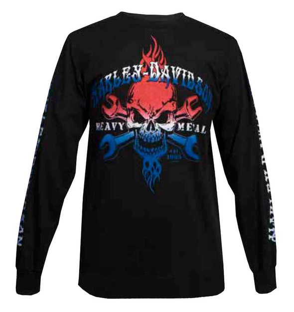 Harley-Davidson Men's Long Sleeve Shirt, Wrenched Skull Red/White/Blue Graphic - Wisconsin Harley-Davidson