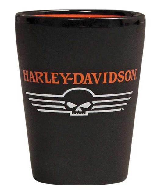Harley-Davidson Linear Willie G Skull Shot Glass, 1.5 oz. Matte Black SG02764 - Wisconsin Harley-Davidson