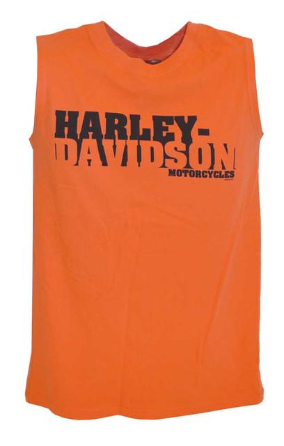 Harley-Davidson Men's Slow Down Sleeveless Muscle Shirt Tank Top Orange 30293368 - Wisconsin Harley-Davidson