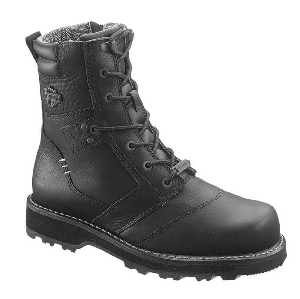 Harley-Davidson Mens Jay 7-inch Black Leather Motorcycle Boots D96026