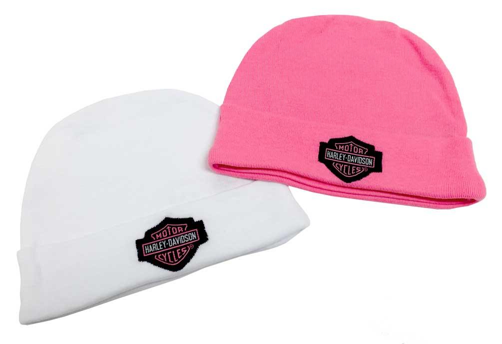 Harley-Davidson Baby Girls/' Embroidered B/&S Hats Pink 3000044 2PK Gift Set