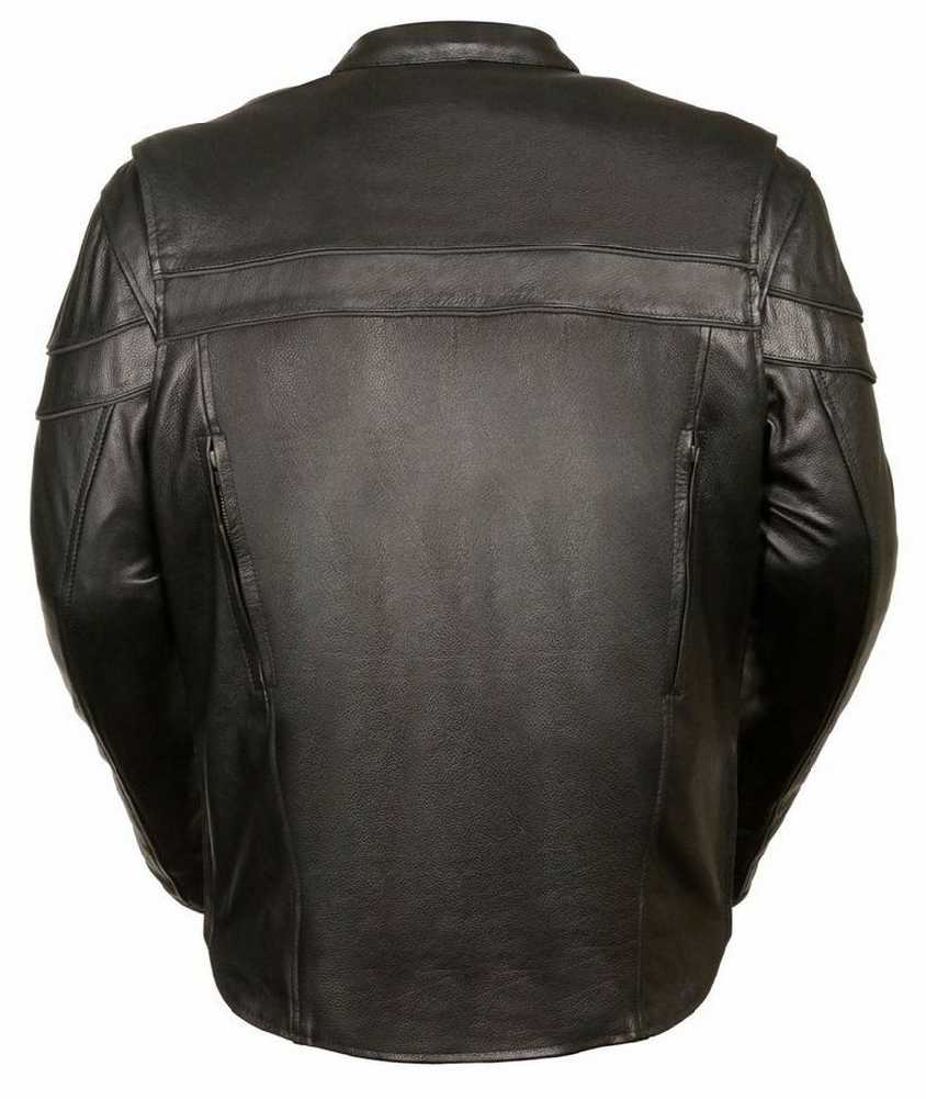 Black, Large Milwaukee Mens Vented Leather Chaps