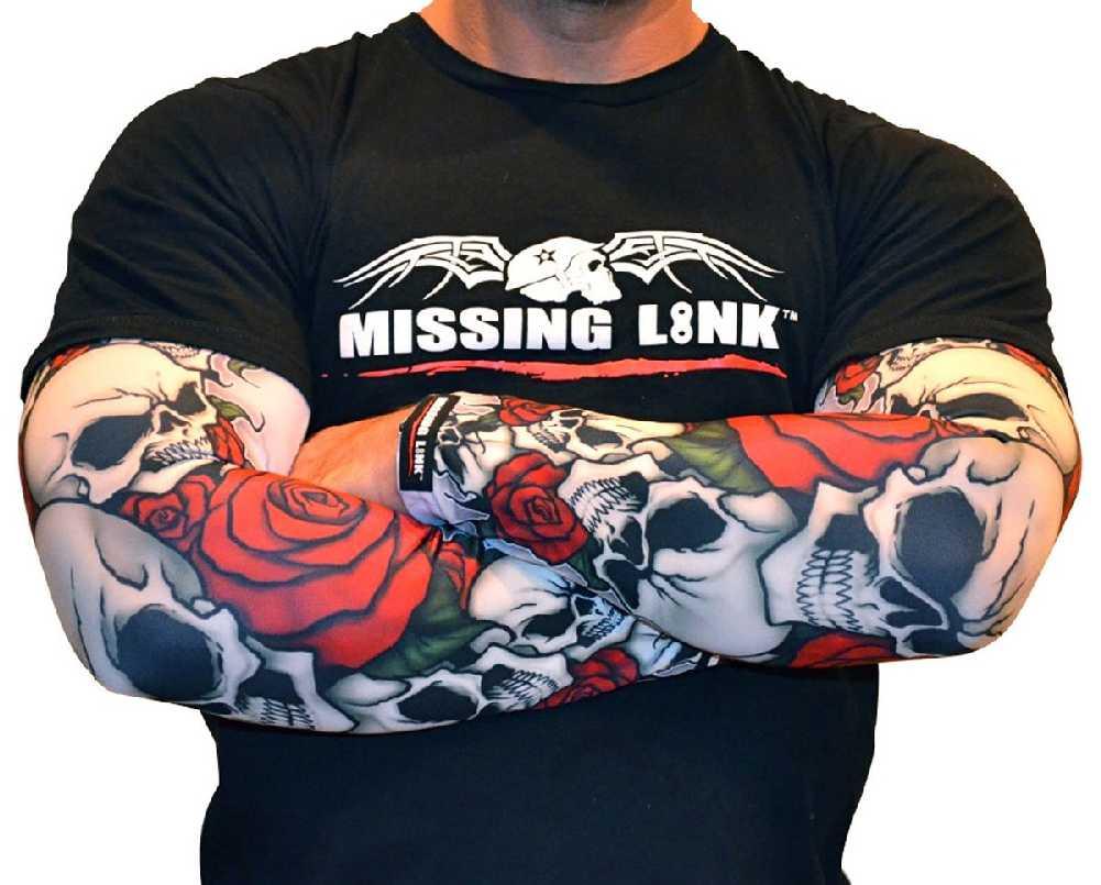 APBR Missing Link SPF 50 Bones N Roses ArmPro Tattoo Compression Sleeves