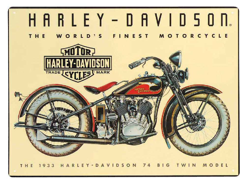 "Harley Davidson 74 Big Twin Tin Embossed Sign 17 x 12.5/"" Motorcycle 2010011"