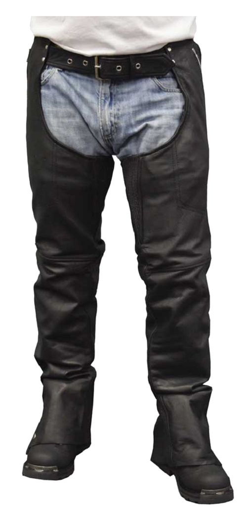 Womens Leather Motorcycle Chaps with Removable Liner 4XL