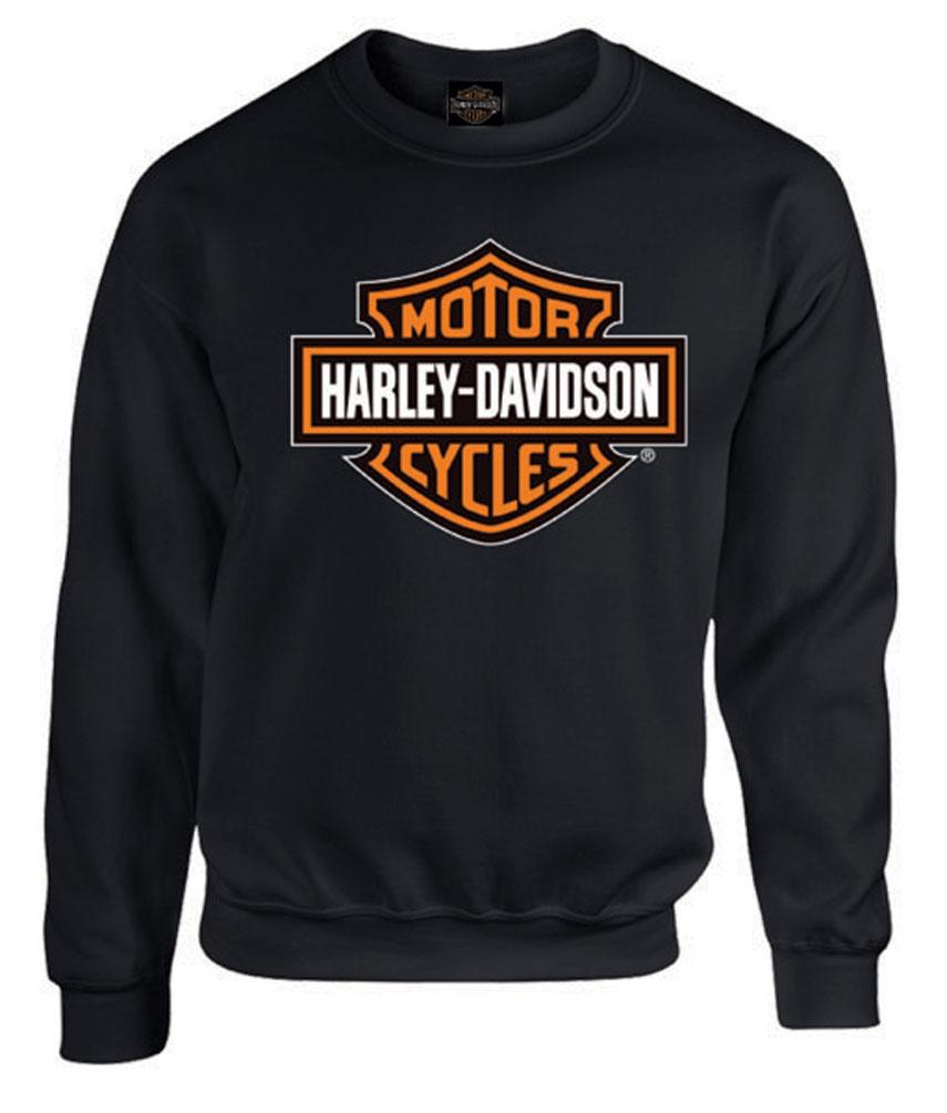 Gray Harley-Davidson Mens Bar /& Shield Long Sleeve Crew Neck Fleece Sweatshirt