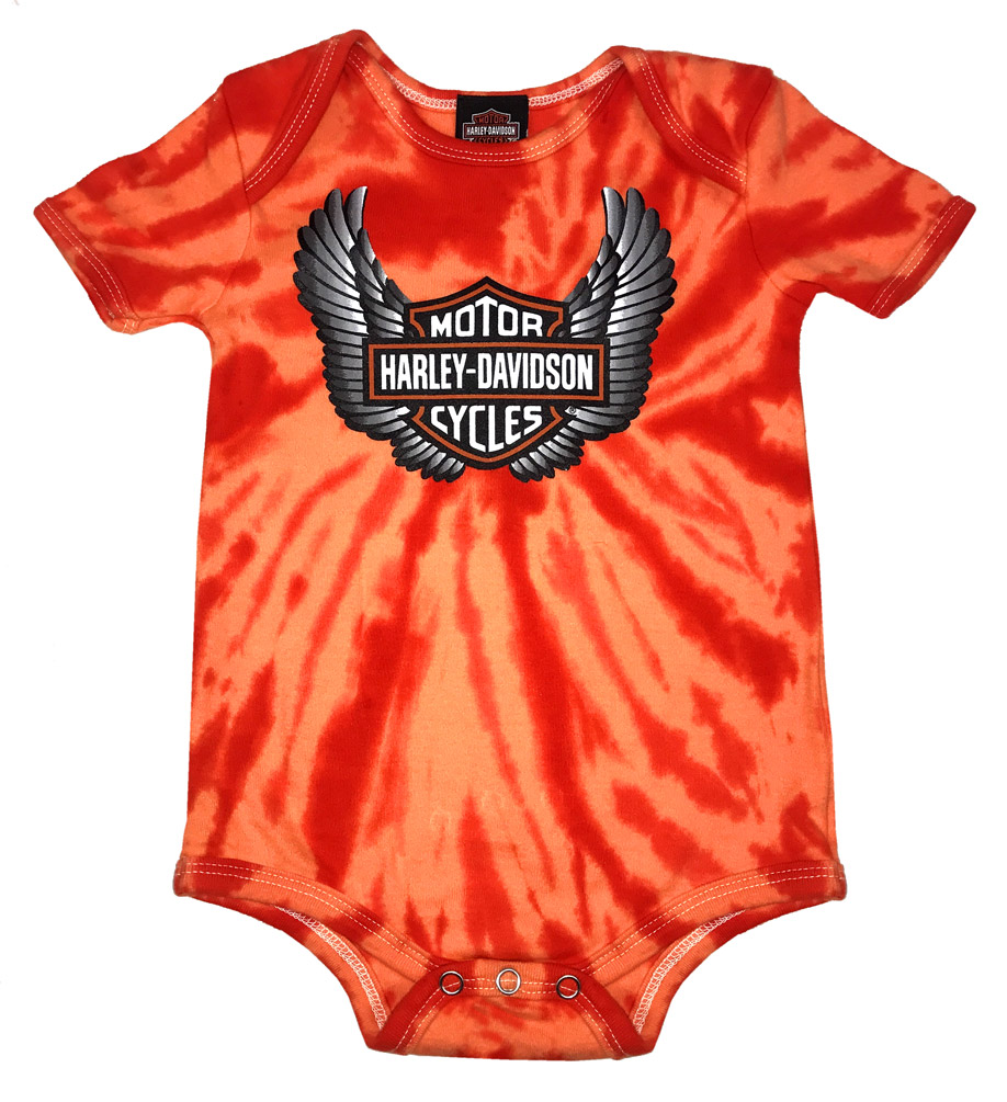 Harley-Davidson Baby Boys/' Winged Bar /& Shield Tie-Dye Creeper Orange 3050743