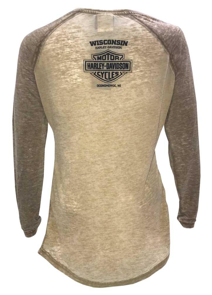 Harley-Davidson Women/'s Playbill Long Sleeve Raglan Burnout Shirt Brown