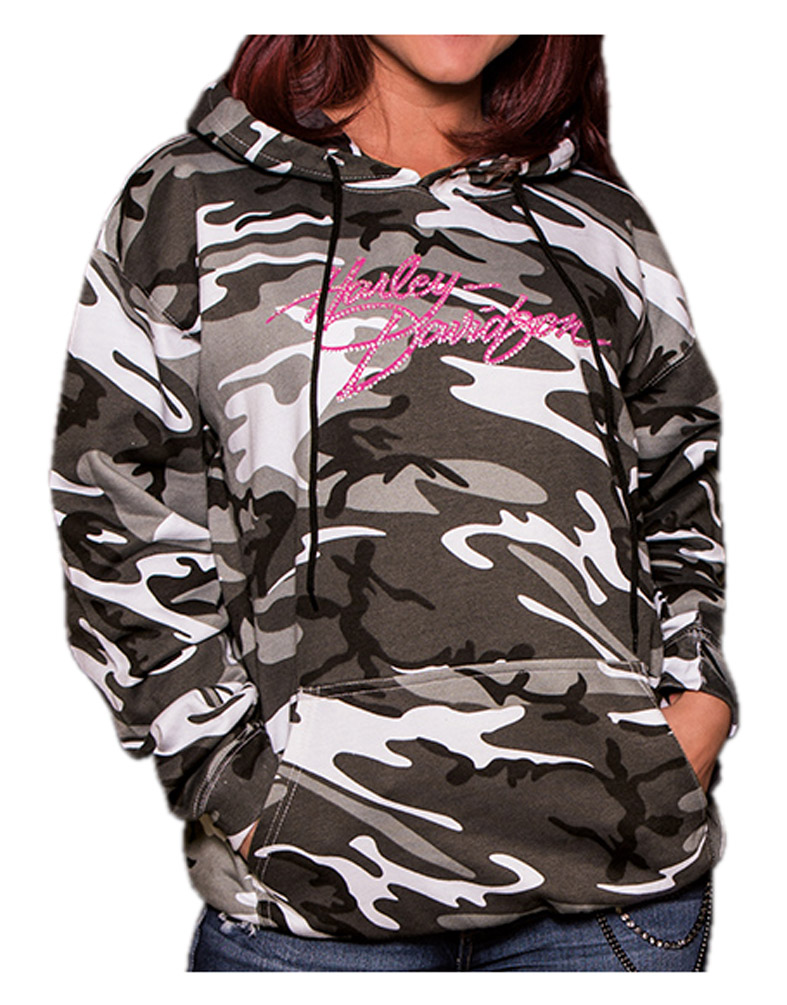 Urban Camo Harley-Davidson Women/'s Embellished Incognito Pullover Hoodie