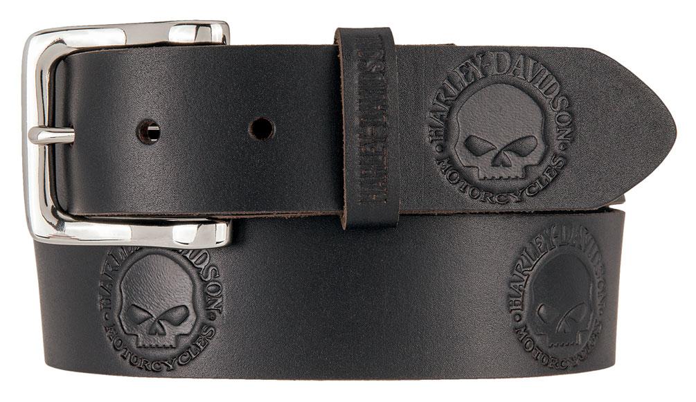 Black HDMBT11332-B Harley-Davidson® Men/'s Embossed Willie/'s World Leather Belt