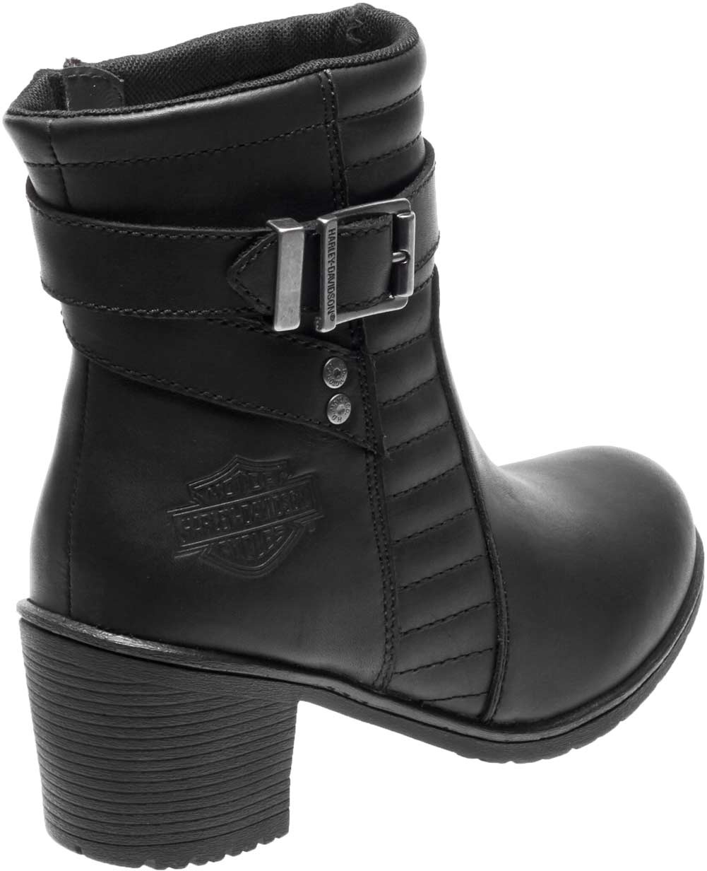 Harley-Davidson Womens Saffron 5-Inch Black Leather Motorcycle Boots D87124