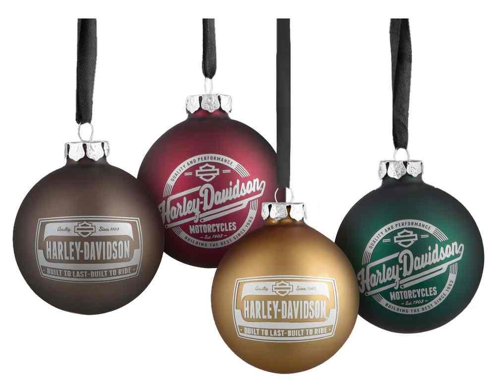 Harley Davidson 2021 Christmas Ornaments Harley Davidson Set Of 4 Glass Ball Ornaments 2 Seasonal Graphics 96910 18v Wisconsin Harley Davidson