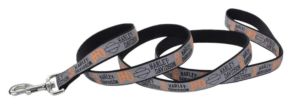 Black /& Orange 6 ft Harley-Davidson Designer Ribbon Premium Dog Leash