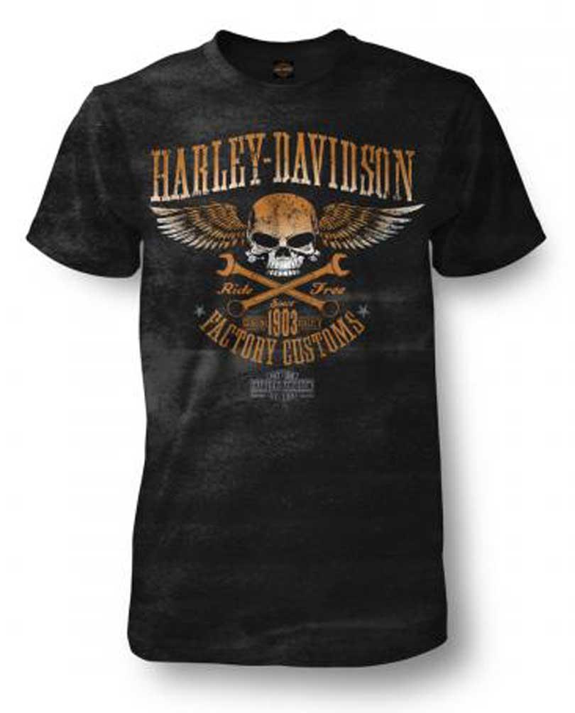 Black Harley-Davidson Men/'s Trigger Skull Premium Short Sleeve Crew-Neck Tee