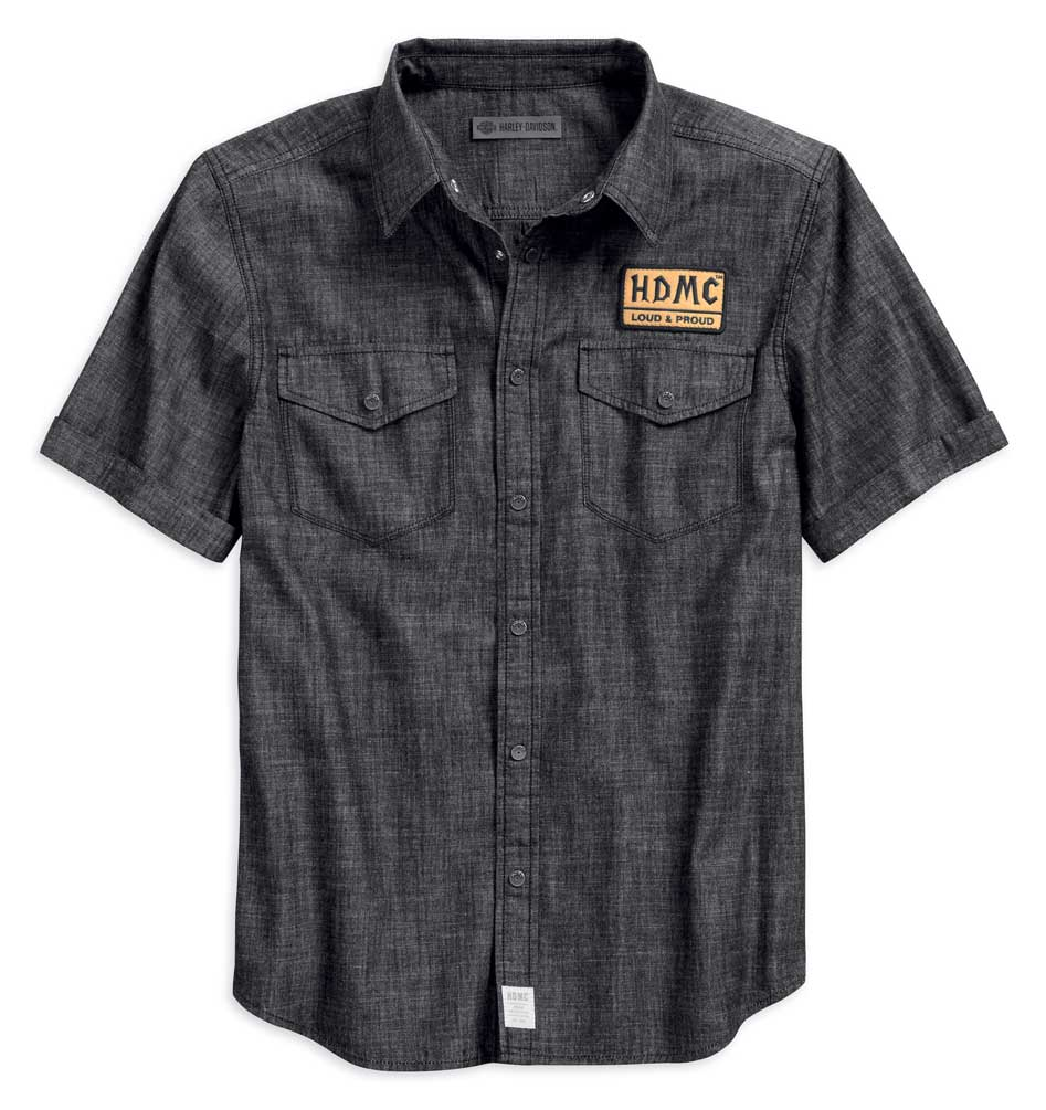 96233-18VM Harley-Davidson Mens Denim Slim Fit Woven Shirt M,L,XL,2XL,3XL