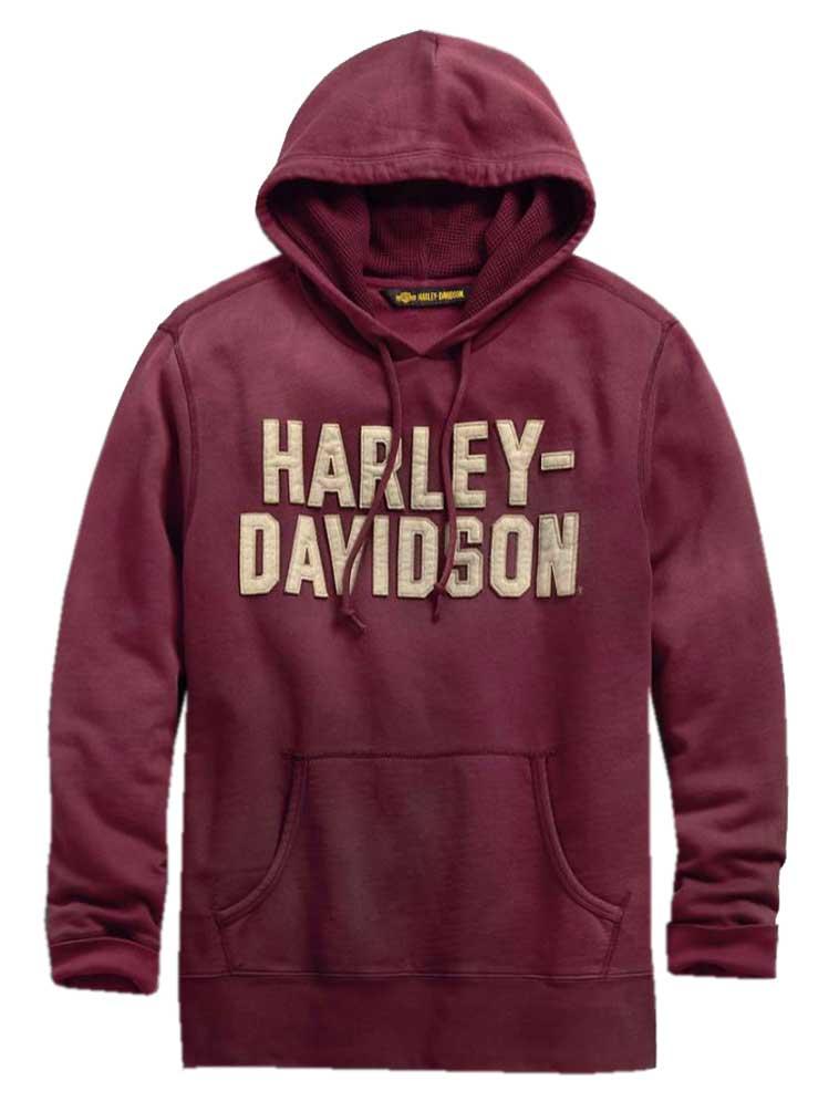 Harley Davidson® Men's Felt Lettering Slim Fit Pullover Hoodie, Red 99180 19VM