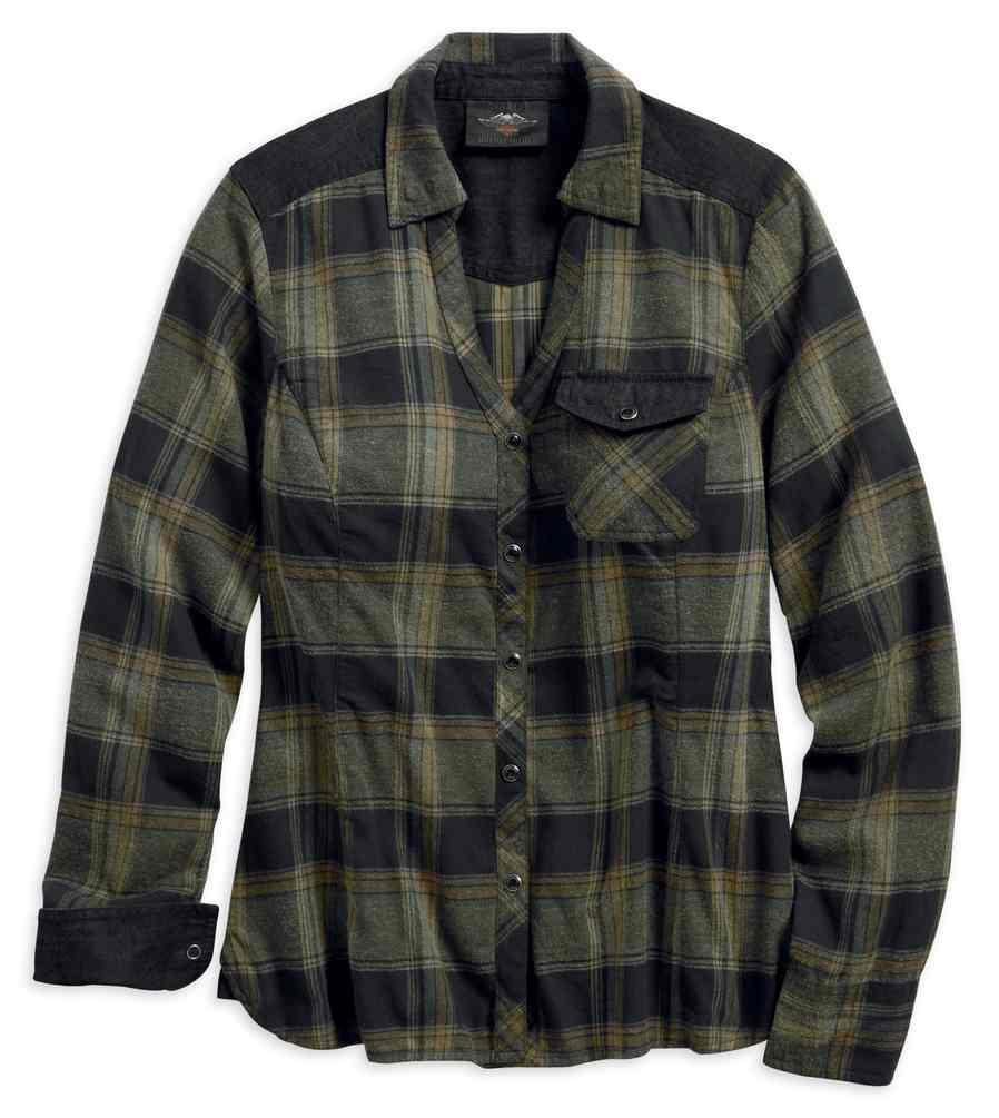 Green 96337-19VW Harley-Davidson® Women/'s Denim Accent Plaid Long Sleeve Shirt