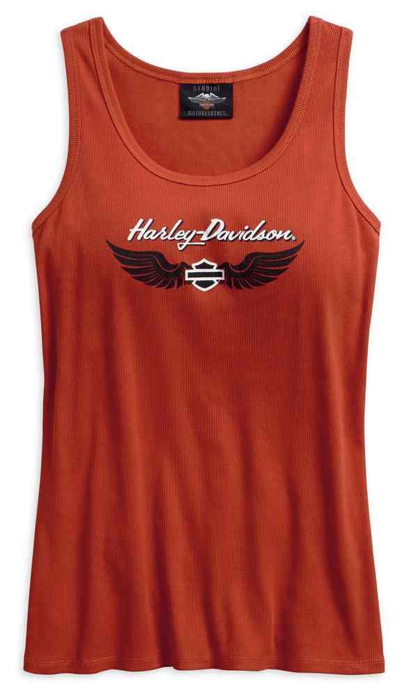 Harley-Davidson Women/'s Tank Top Black Ribbed w// Orange Graphics XL