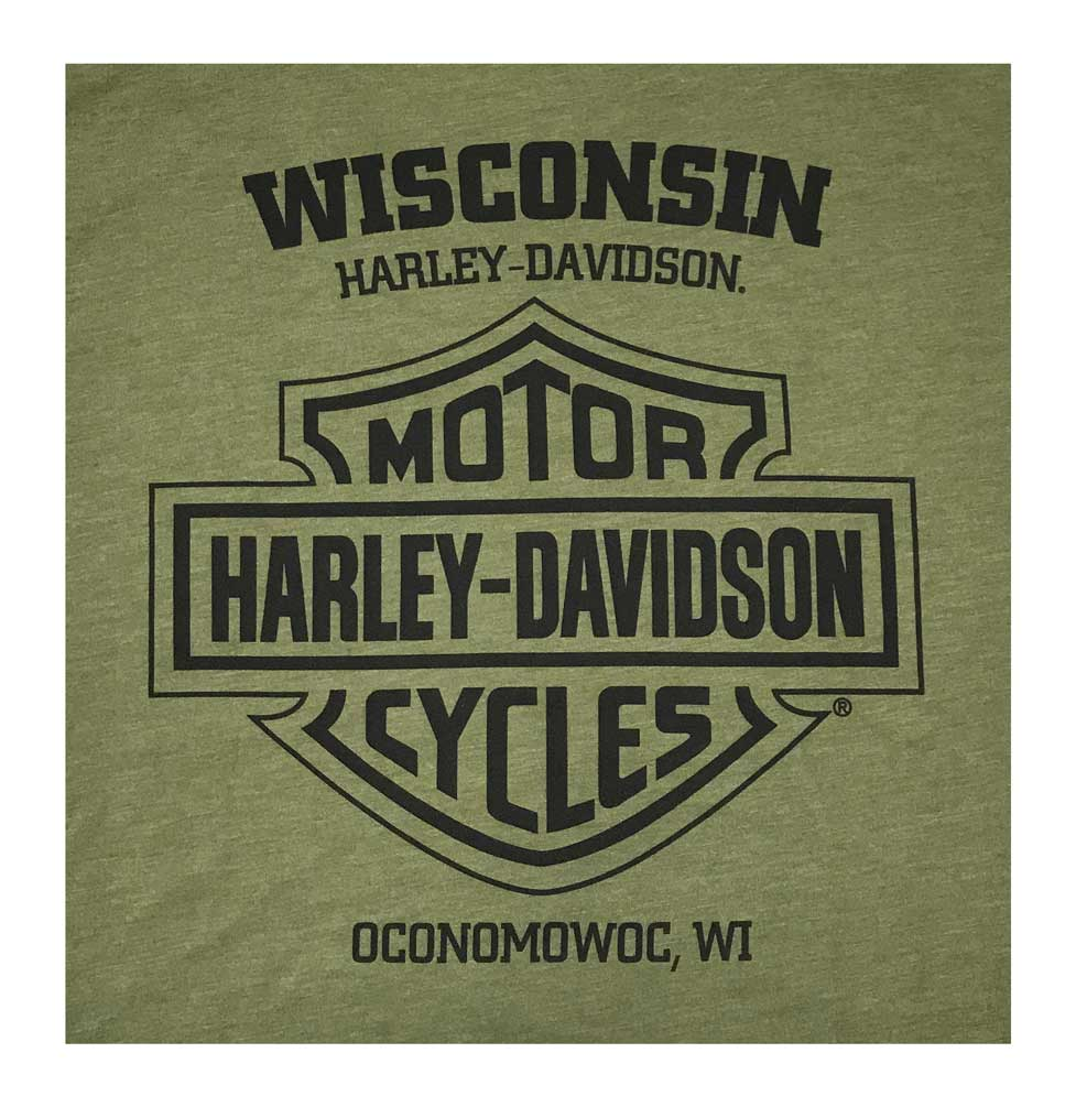 Harley-Davidson Men/'s Soaring Eagle Crew Neck Short Sleeve Tee Military Green