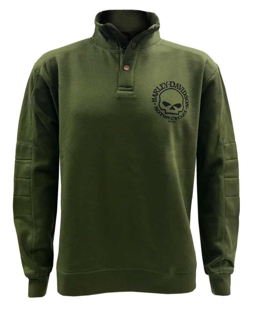 Green Harley-Davidson Men/'s Valor Skull Button Pullover Fleece Sweatshirt