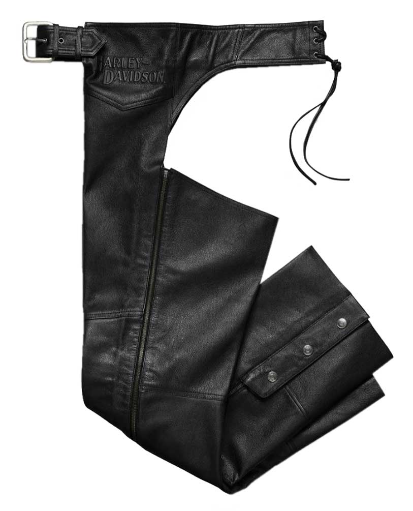 Harley Davidson® Men's Stock II Midweight Leather Chaps Black 98025 18VM