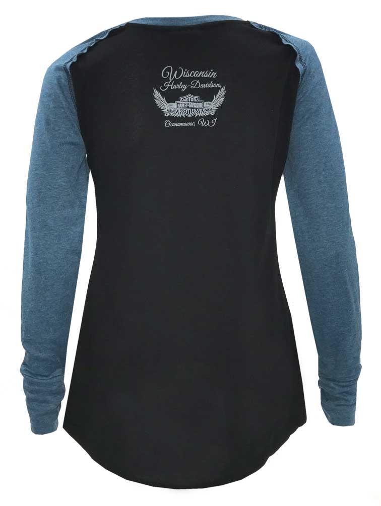 Harley-Davidson Women/'s Winged B/&S Long Sleeve Raglan Shirt w// Thumbholes Black