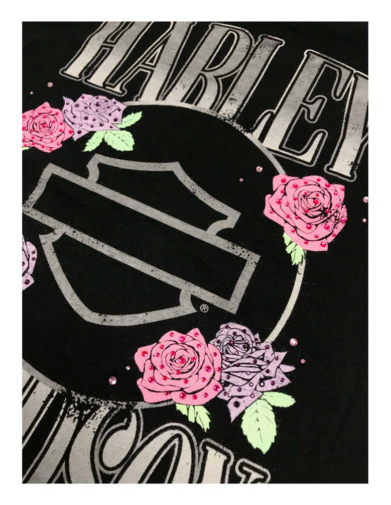 Black Harley-Davidson Womens Roses /& Logo Short Sleeve Round Neck Cotton Tee