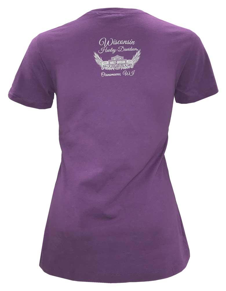 Purple Harley-Davidson Women/'s Swirl Script Short Sleeve Boyfriend Cotton Tee
