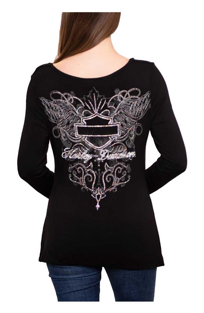 Harley-Davidson Women/'s Metal Wings Black Long Sleeve Cowl-Neck Top HT4414BLK