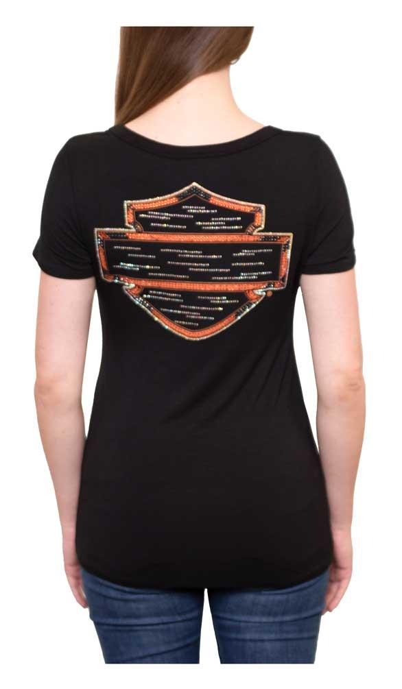 Harley-Davidson Women/'s Floral Divine Embellished Short Sleeve Tee Black