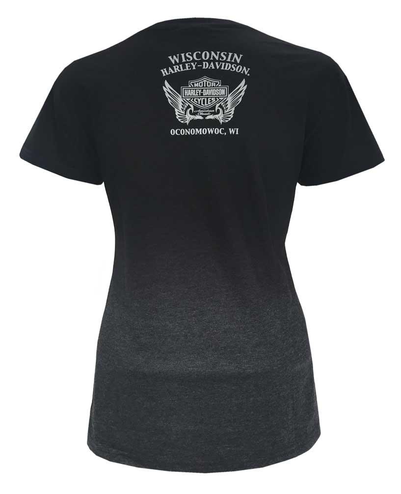 Ombre Harley-Davidson Women/'s Bling Ornamental Short Sleeve Poly-Blend T-Shirt