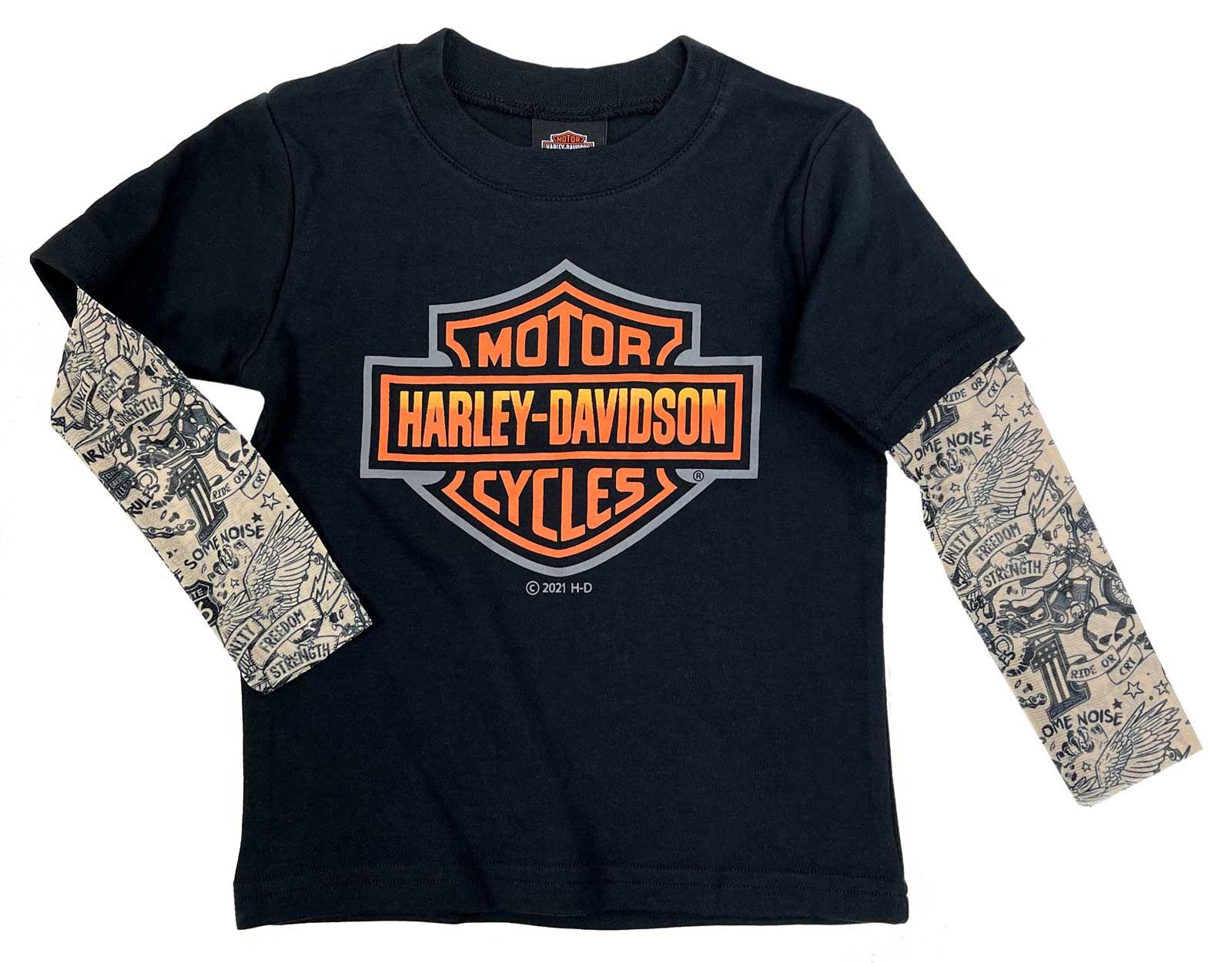 Details about  /Kids Harley Davidson Boys Bar /& Shield Motorcycle Print Brown T-Shirt