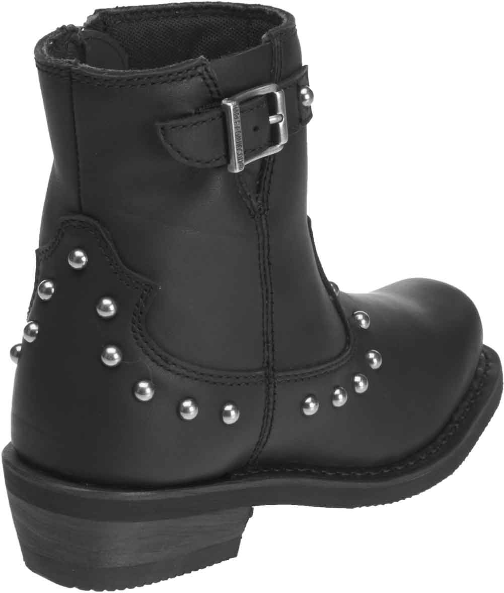 D87079 Harley-Davidson Womens Deanne 7.25-Inch Black Leather Motorcycle Boots