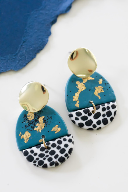 teal, black & white mixed clay earring