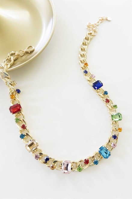 Medium length gold and multicolored gemstone necklace