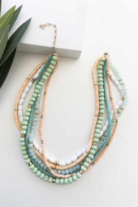 Mint, teal, salmon and white layered bead necklace