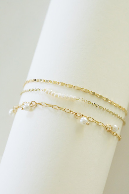 3 piece gold chain bracelets with pearl accents